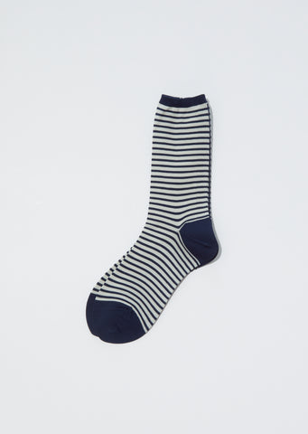 Stripes Socks — Navy x Ivory