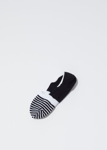 Stripes No-Show Socks – Black x White