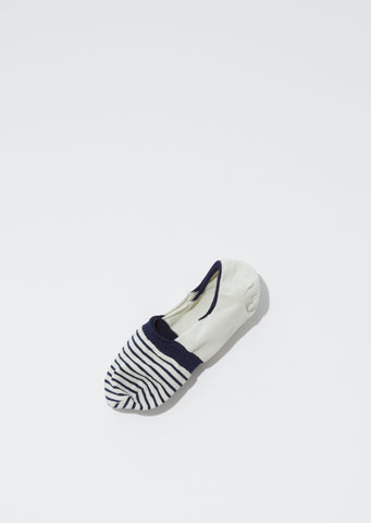 Stripes No-Show Socks — Navy x Ivory