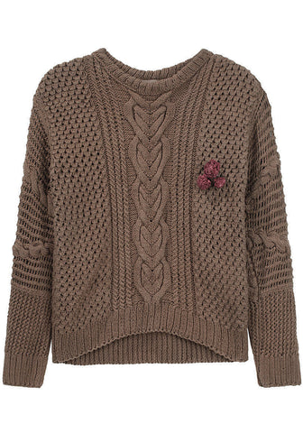Cable Sweater w/ Flower Pin