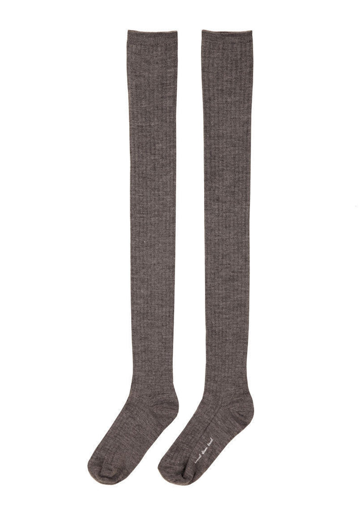Wool Rib Thigh High Socks