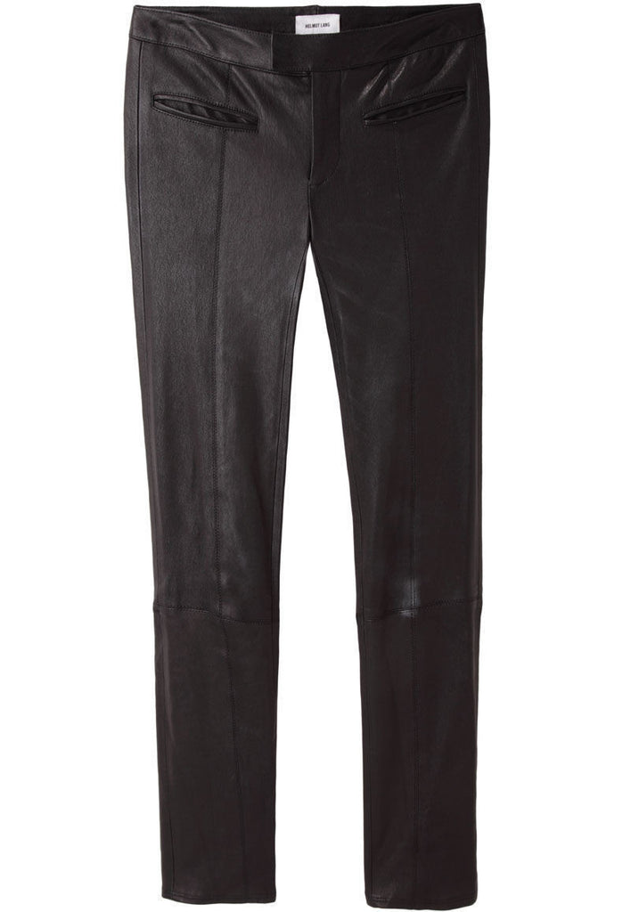 Cropped Stovepipe Leather Pants