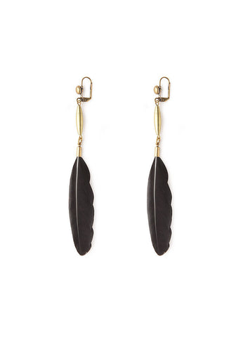 Black Sweat Feather Earrings