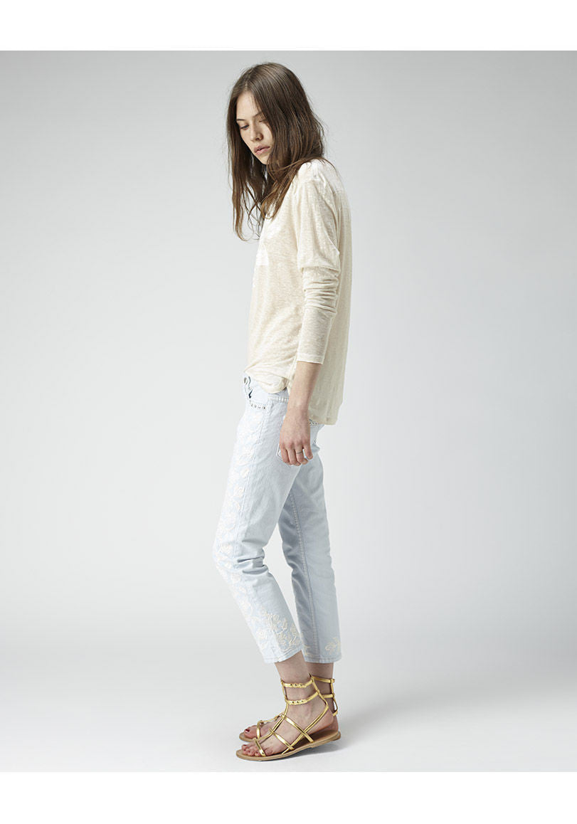 Gallo Embroidered Cropped Jean
