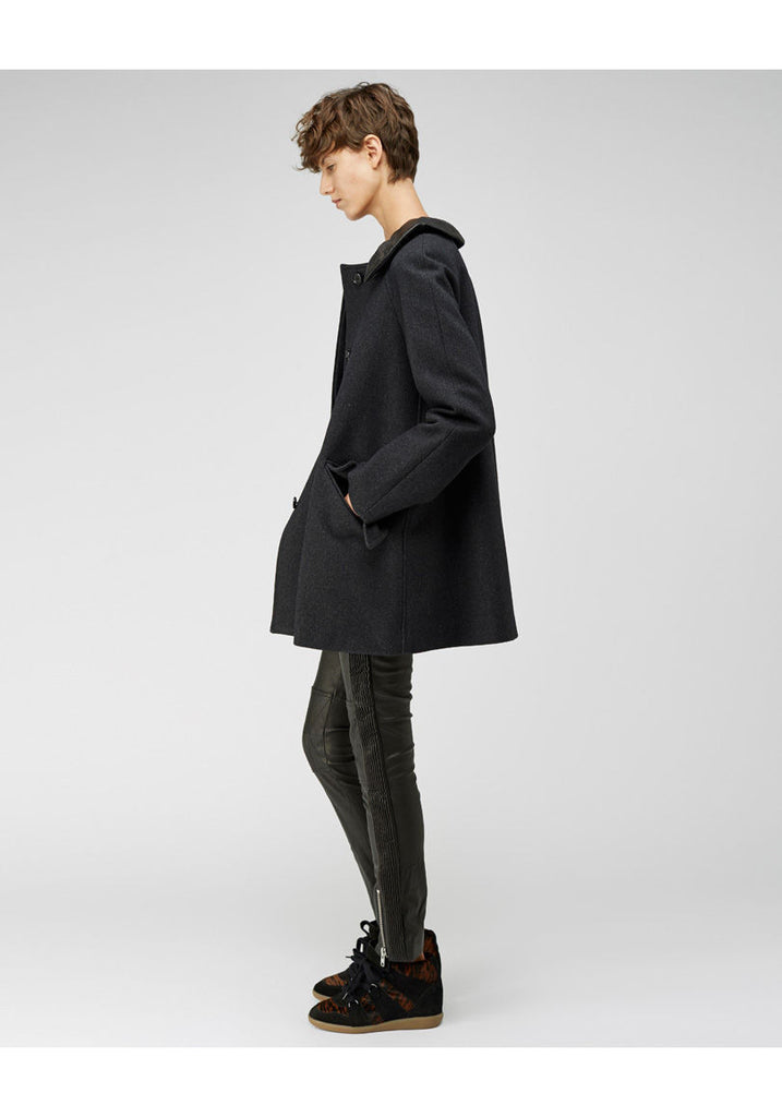 Zeph Leather Collar Coat