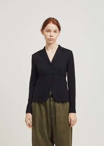 Patch Pocket Fitted Twill Blazer