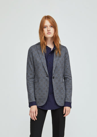 Checked Wool Cotton Boyfriend Blazer