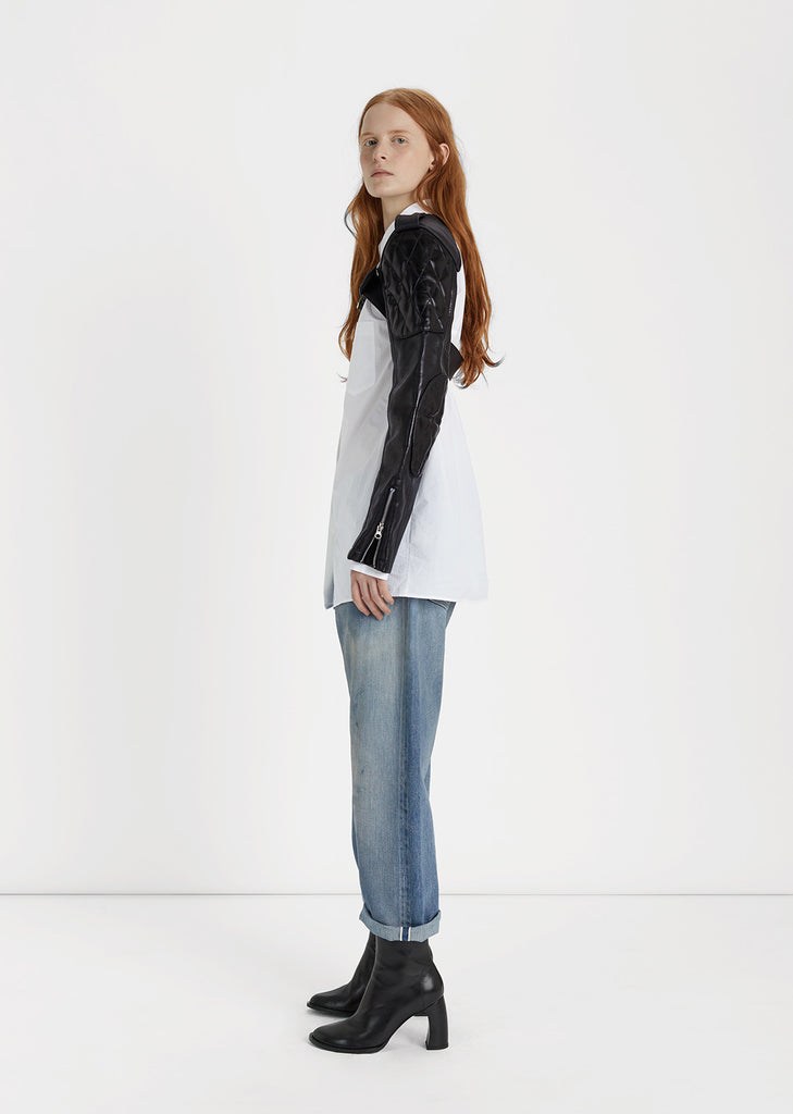 Synthetic Leather Sleeve Jacket