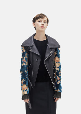 Synthetic Leather Pile Jacquard Moto Jacket