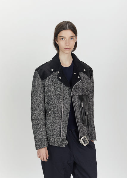 Wool Nylon Herringbone Cowhide Moto Jacket