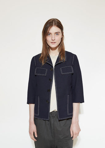 Topstitched Wool Jacket