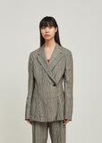 Over Check Wool Blazer