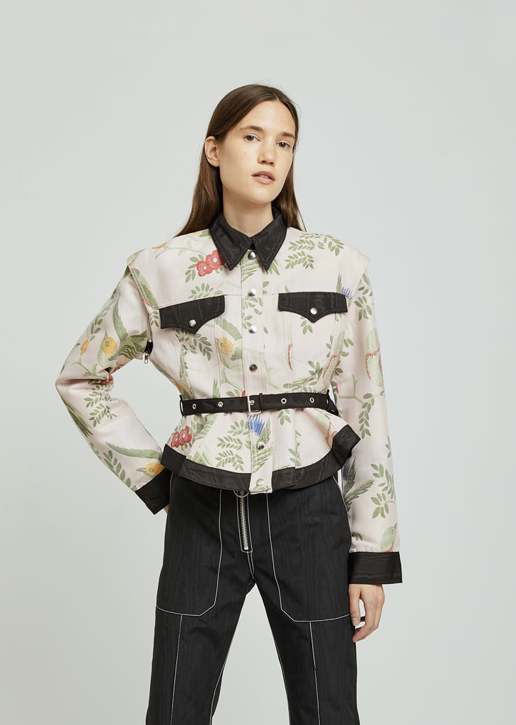 Bird Brocade Detachable Sleeve Jacket