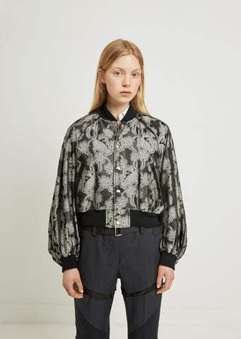 Flower Pattern Jacquard Bomber Jacket