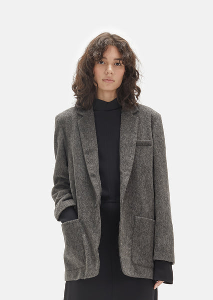One Button Wool Blazer