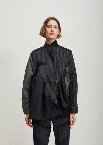 Glencheck Pinstripe Panel Jacket