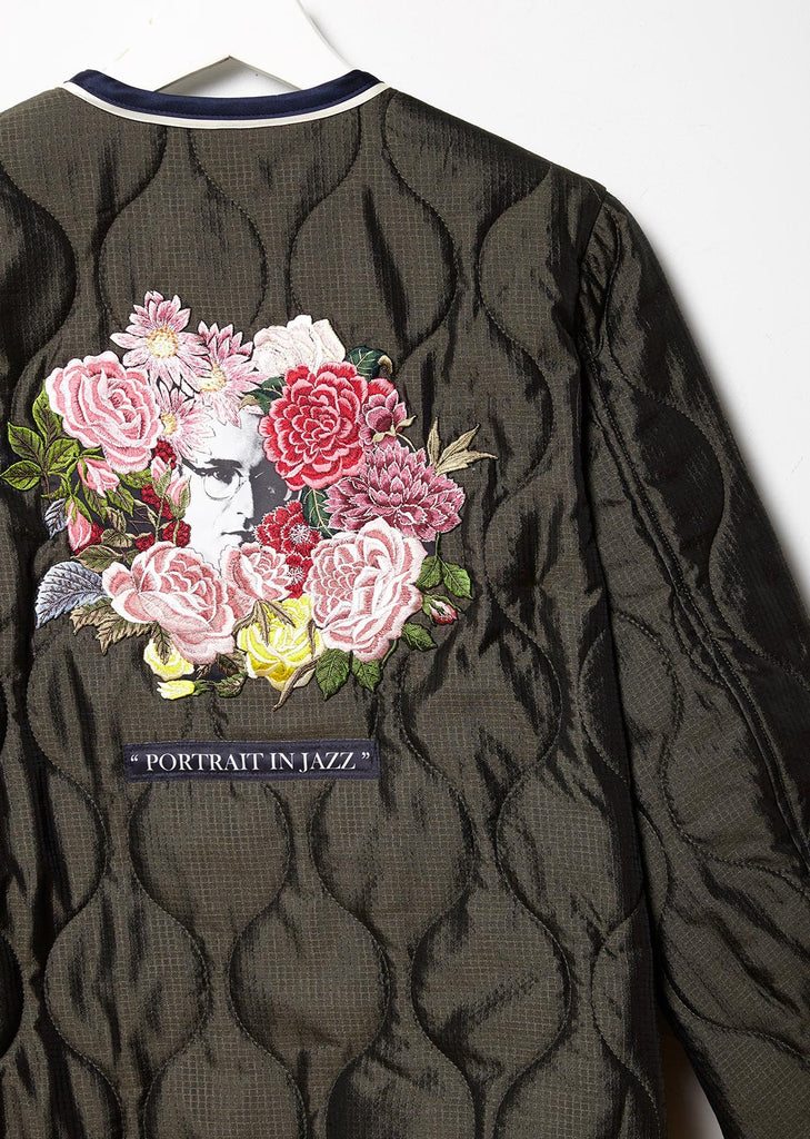 Quilted Jacket with Flower Patch