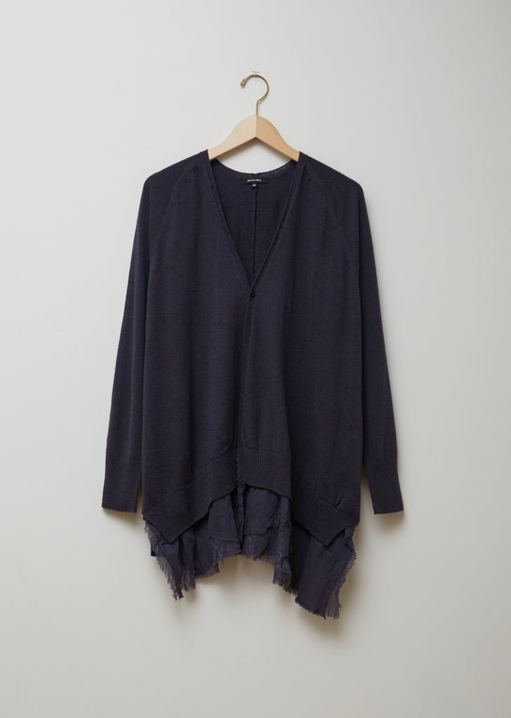 Organic Cotton & Wool Blend Blouse Hem Cardigan