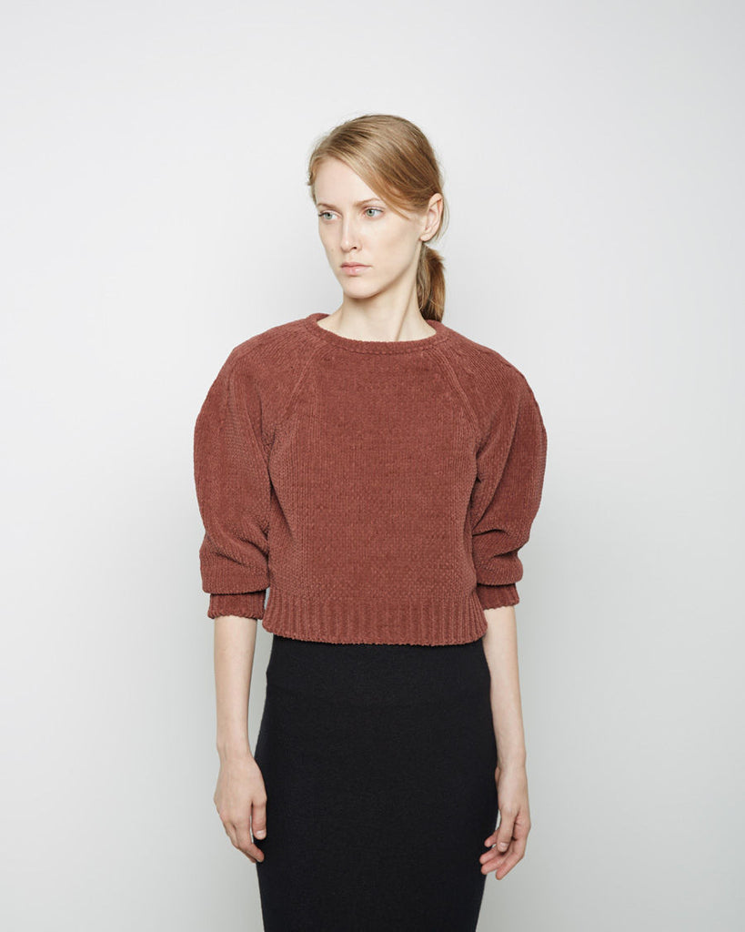 Gathered Sleeve Open Neck Sweater