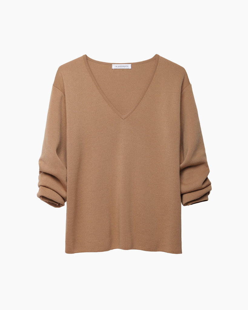 Gathered Sleeve V-Neck
