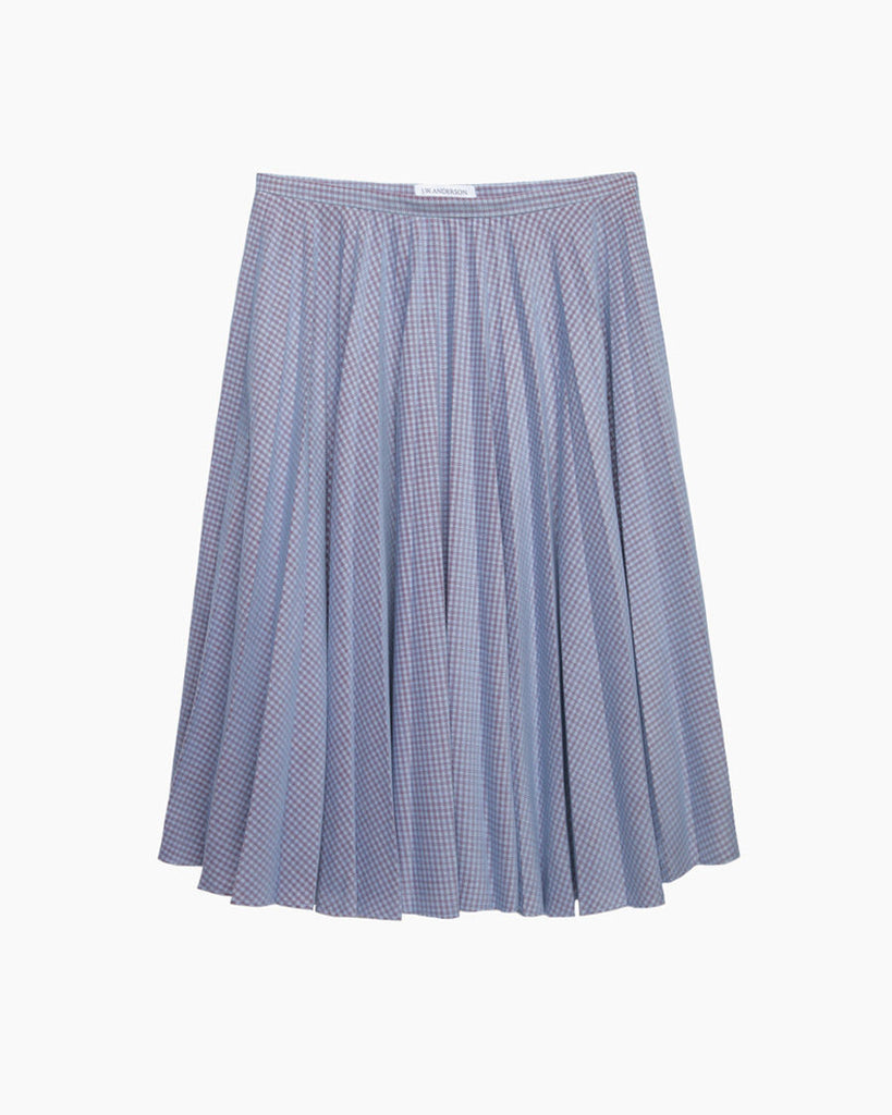Velour Checkered Fan Pleat Skirt