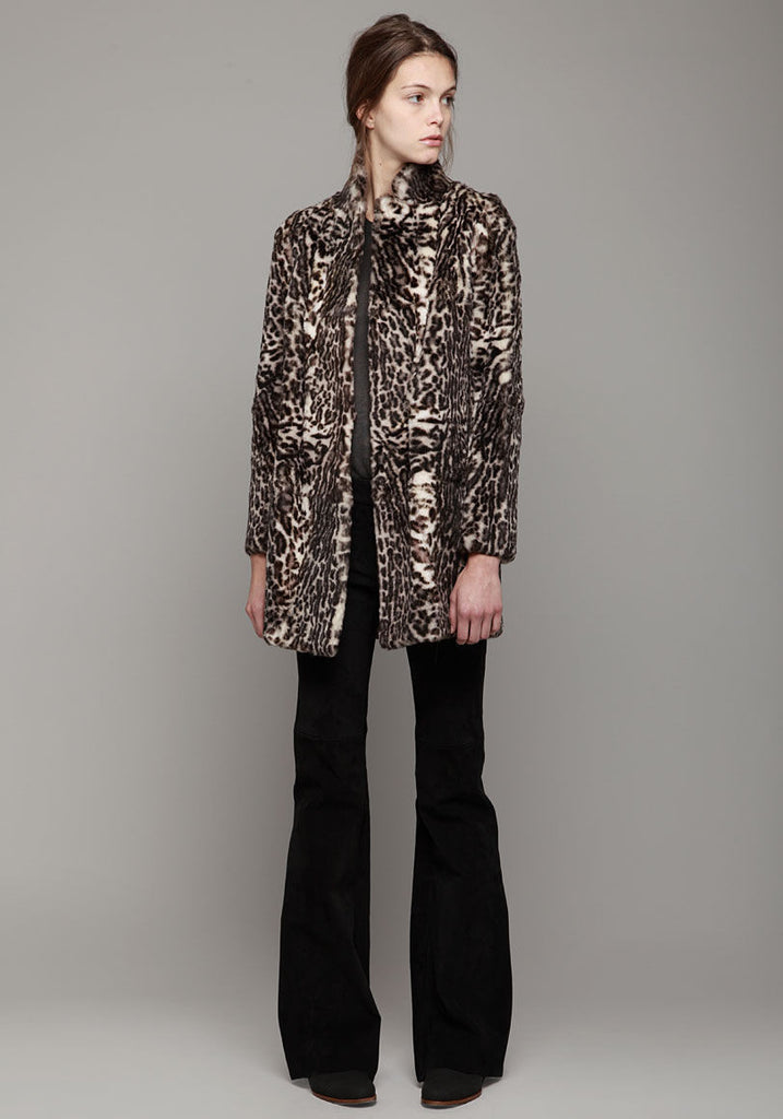 Printed Rabbit Fur Coat