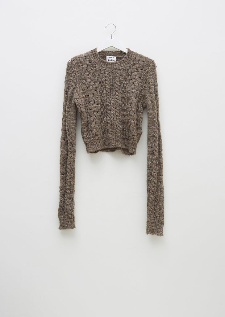 Wool Cropped Long Sleeve Sweater