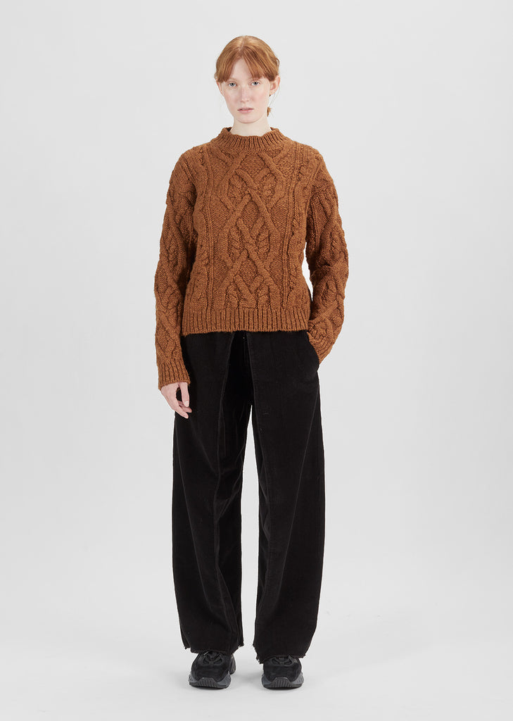 Edyta Cable Mock Neck Sweater