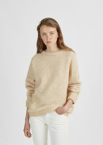 Dramatic Mohair Crewneck Pullover