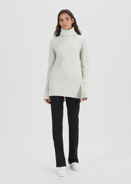 Wool Cashmere Ribbed Turtleneck
