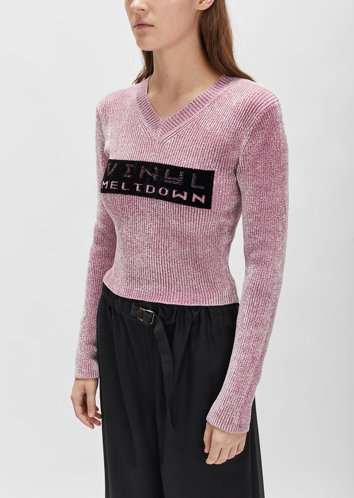 Vinyl Meltdown Jacquard V-Neck Sweater