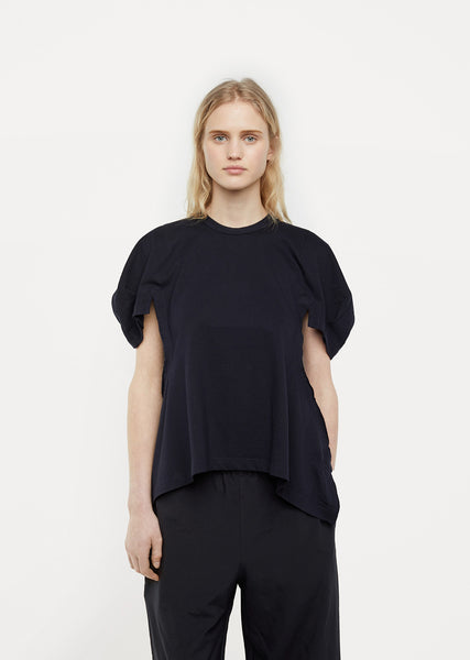 Cotton Jersey Cap Sleeve Peplum Top