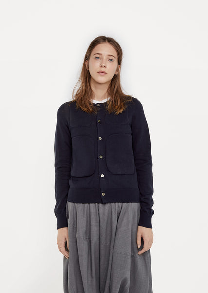 Padded Panel Cotton Cardigan