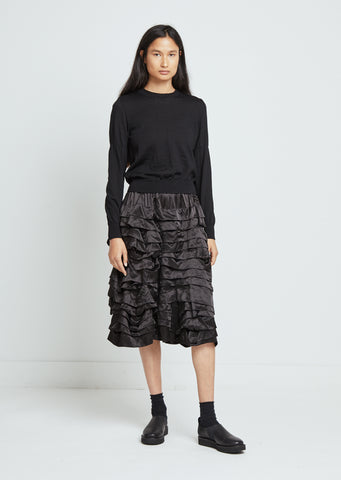 Garment Washed Layered Ruffle Pants
