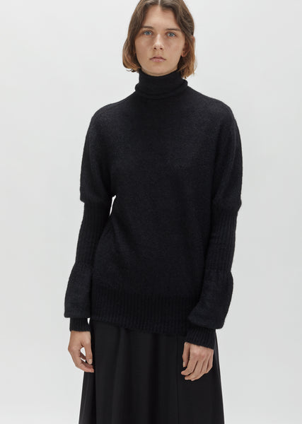 High Neck Puff Sleeve Sweater