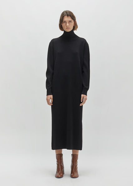 Crepe Wool Slit Dress