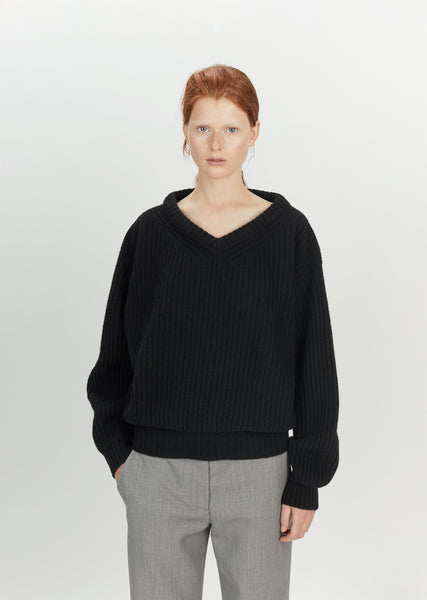 Shetland Wool Large V-Neck Sweater