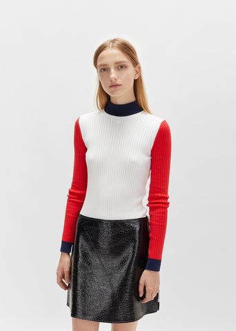 Color Blocked High Neck Sweater