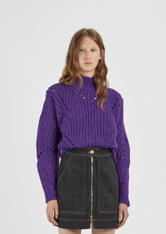 Alpaca Perforated Turtleneck