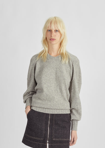 Pintucked Crewneck Sweater