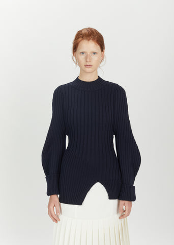 Balloon Sleeve Wool Sweater