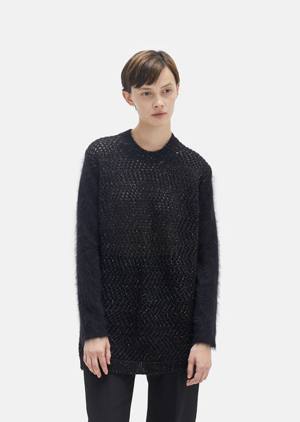 Angora Mohair Netted Mesh Sweater