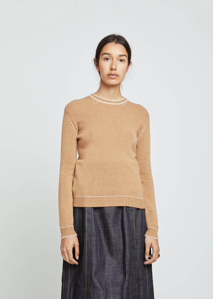 Cashmere Contrast Stitch Sweater