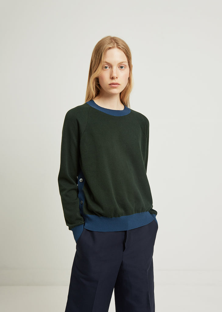 Contrast Trim Side Button Sweater