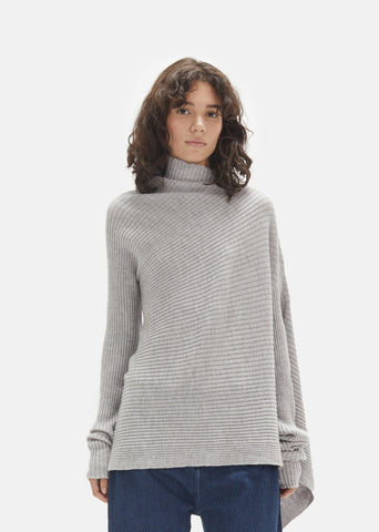 Merino Wool Draped Asymmetric Sweater