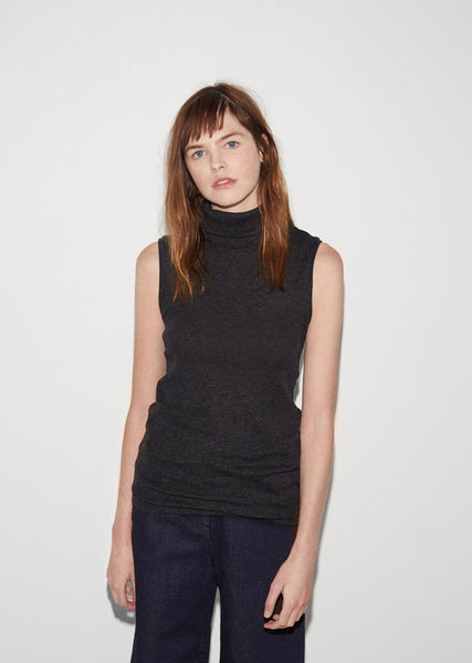 Micro Rib Sleeveless Turtleneck