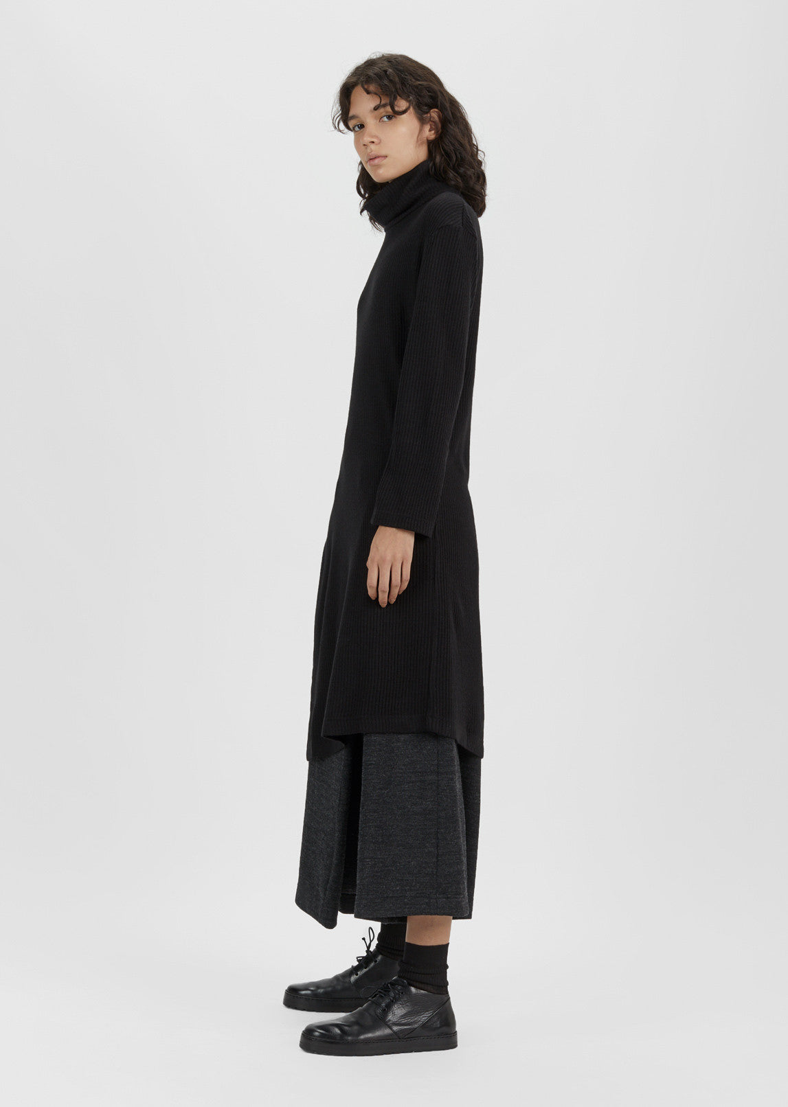 Long Asymmetric Turtleneck Sweater