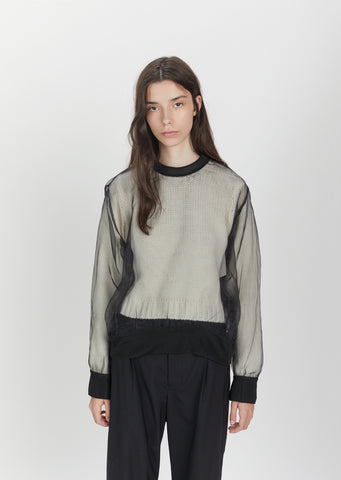 Sheer Overlay Low Gauge Knit Sweater