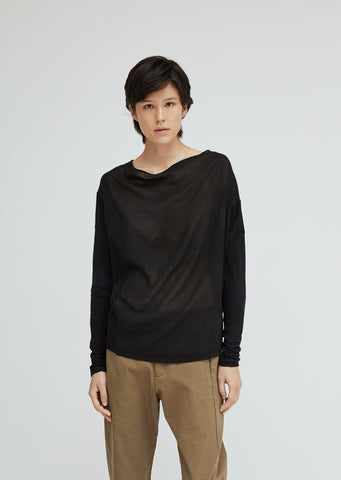 Boat Neck Draped Cotton Top