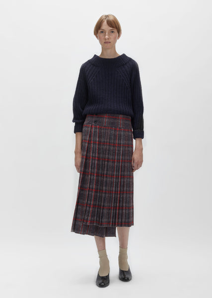 Glen Check Pleated Wrap Skirt